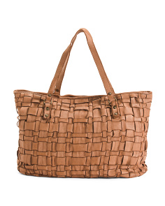 Made In Italy Leather Woven Tote