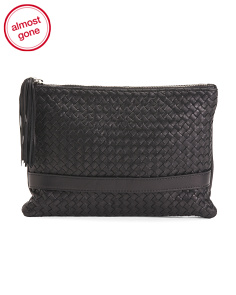 Made In Italy Leather Woven Clutch