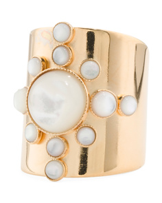 Made In France 24k Gold Plated Brass Mother Of Pearl Ring