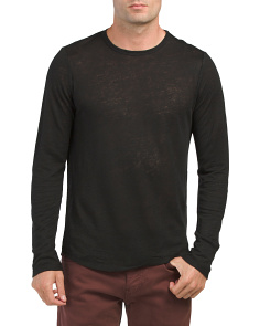 Raw Edge Crew Neck Linen Top
