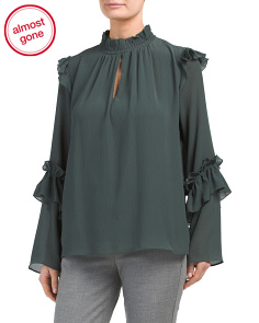 Long Sleeve Ruffled Top With Keyhole