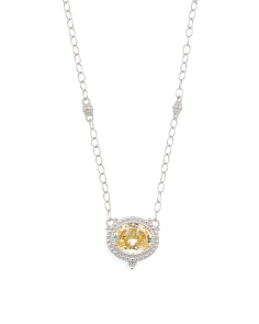 Sterling Silver Canary Crystal Oval Pendant Necklace