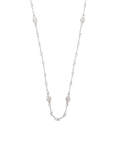 Sterling Silver White Sapphire Estate Chain Long Necklace