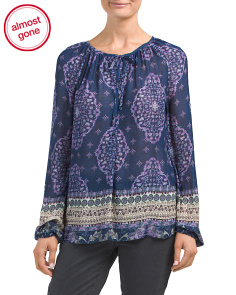 Tile Print Peasant Top