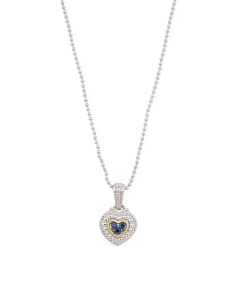 Sterling Silver Blue Sapphire Heart Legacy Necklace