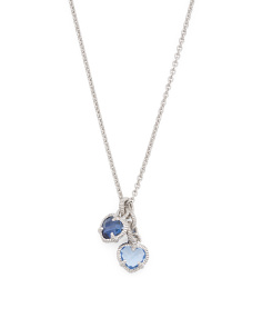 Sterling Silver Blue Stone Double Heart La Petite Necklace