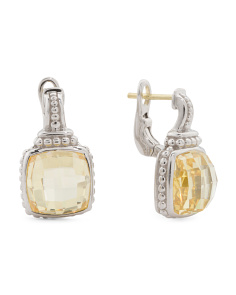 Sterling Silver Cushion Canary Crystal Earrings