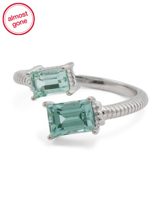 Sterling Silver Paraiba Spinel Bypass Lafayette Ring