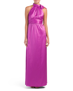Tie Neck Charmeuse Gown
