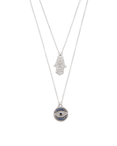Sterling Silver Diamond Hamsa And Evil Eye 2 Strand Necklace