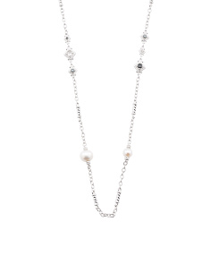 Sterling Silver Hematite And Pearl Renaissance Necklace
