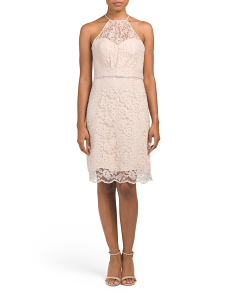 High Neck Lace Cocktail Dress