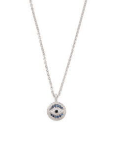Sterling Silver Multicolor Sapphire Evil Eye Lucky Necklace