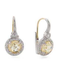 Sterling Silver White Sapphire Halo Canary Crystal Earrings