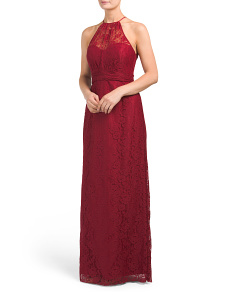 Halter Neck Long Lace Gown