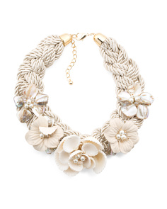 Shell 5 Flower Braided Rope Necklace