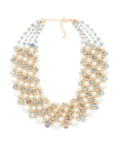 Ab Crystal Pearl And Gold Bib Necklace