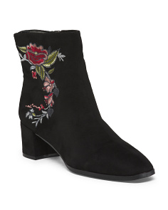 Mod Embroidered Block Heel Booties