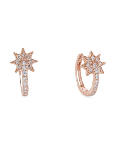 Made In USA 14k Rose Gold Cz Starburst Huggie 10mm Earrings