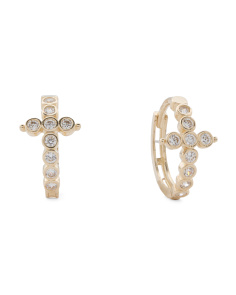 Made In USA 11mm 14k Gold Cubic Zirconia Cross Huggie Earrings