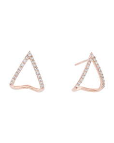 Made In USA 14k Rose Gold Cz Inverted V Huggie 13mm Earrings