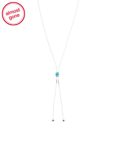Made In Italy Sterling Silver Turquoise Lariat Necklace