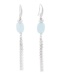 Made In Italy Sterling Silver Blue Quartzite Tassel Earrings