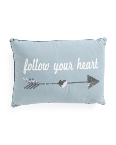 14x20 Sequin Follow Your Heart Pillow