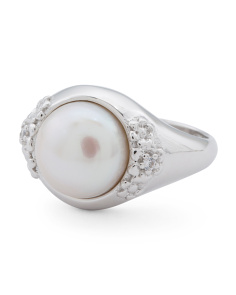 Made In Italy Sterling Silver Pearl And Cubic Zirconia Ring