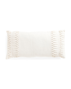 12x24 Macrame Faux Linen Pillow