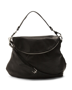 Zip Flap Leather Hobo