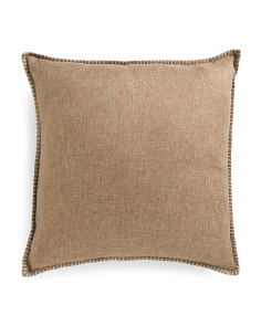 22x22 Faux Linen Front Velvet Back Pillow