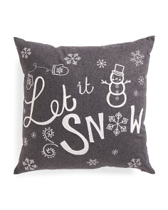 20x20 Let It Snow Chalkboard Pillow