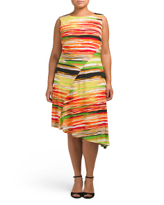Plus Printed Asymmetric Hem Dress