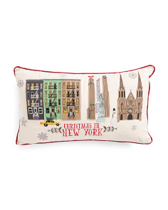 Wool 14x24 Christmas In New York Pillow