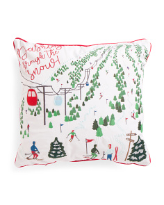20x20 Embroidered Ski Slope Pillow