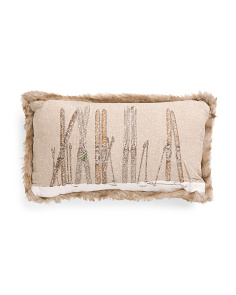 14x24 Ski Reversible  Faux Linen Pillow