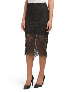 Pencil Skirt With Lace Overlay