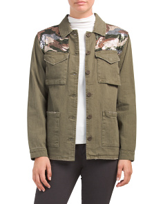 Juniors Camo Sequin Jacket
