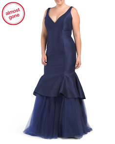 Plus Fitted V Neck Gown With Tulle Hem