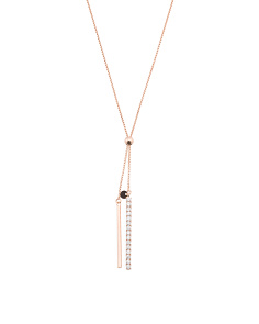 Made In Italy Sterling Silver Cubic Zirconia Lariat Slider Necklace