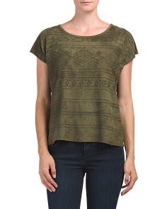 Petite Faux Suede Embroidered Top