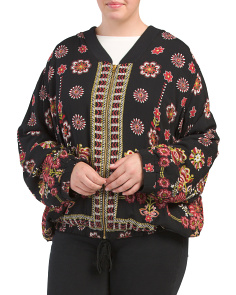 Plus Juniors Floral Printed Bomber