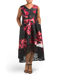 Plus Floral And Lace Hi-lo Dress