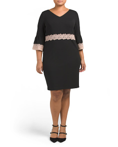 Plus Bell Sleeve Lace Trim Dress