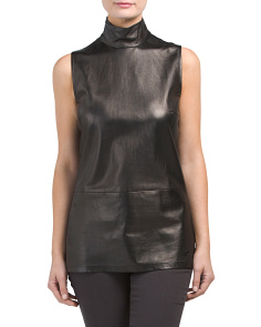 Made In Italy Sleeveless Leather Top
