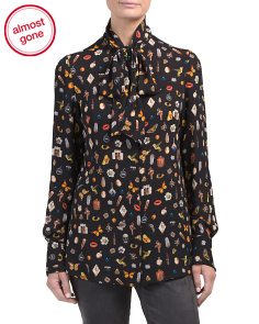 Made In Italy Silk Obsession Print Blouse