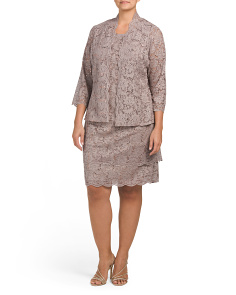 Plus Scalloped Lace Jacket Dress