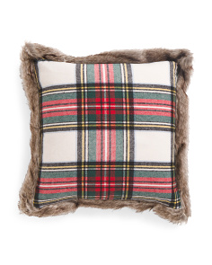 20x20 Plaid Faux Fur Trim Pillow