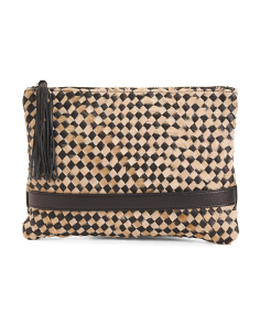 Made In Italy Woven Leather Clutch With Haircalf